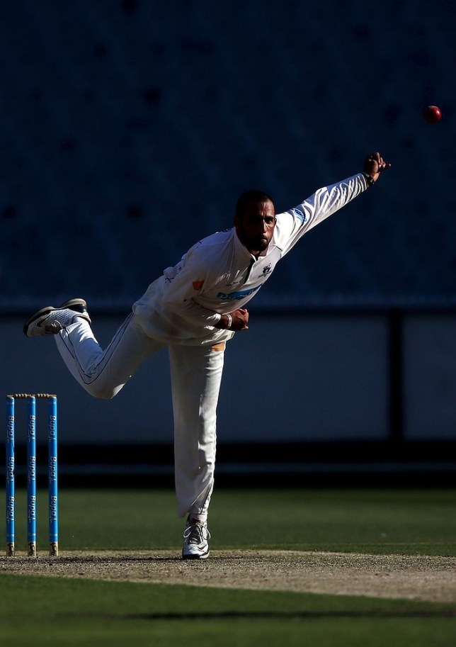MELBOURNE, AUSTRALIA - FEBRUARY 18:  Fawad Ahmed of the Bushrangers bowls during day one of the Sheffield Shield match between the Victorian Bushrangers and the Queensland Bulls at Melbourne Cricket Ground on February 18, 2013 in Melbourne, Australia.Credit: Getty Images