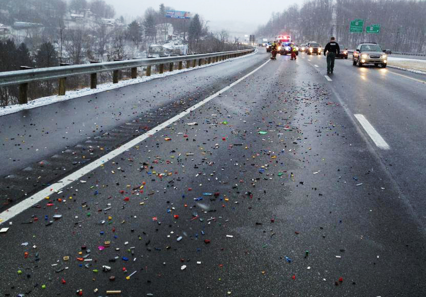 Lego bricks spill on to West Virginia highway causing major delays