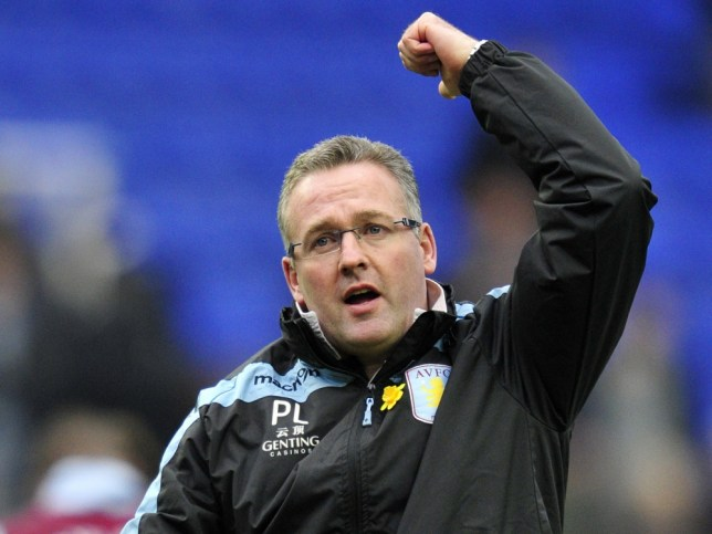 Aston Villa's Scottish manager Paul Lambert waves to the fans after winning the English Premier League football match between Reading and Aston Villa at the Madejski Stadium in Reading, Berkshire, on March 9, 2013. Aston Villa won 2-1. AFP PHOTO/GLYN KIRK RESTRICTED TO EDITORIAL USE. No use with unauthorized audio, video, data, fixture lists, club/league logos or ìliveî services. Online in-match use limited to 45 images, no video emulation. No use in betting, games or single club/league/player publicationsGLYN KIRK/AFP/Getty Images