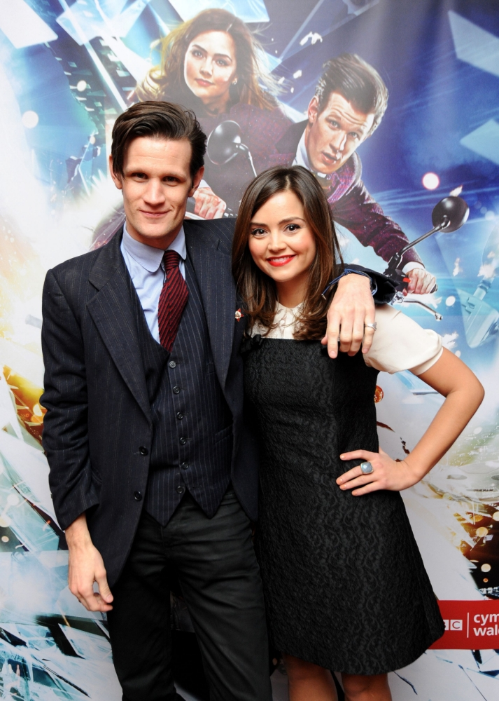 Matt Smith (left) and Jenna-Louise Coleman during a photocall at a press screening of the brand new Doctor Who episode. PRESS ASSOCIATION Photo. Picture date: Friday March 15, 2013. Photo credit should read: Andrew Matthews/PA Wire