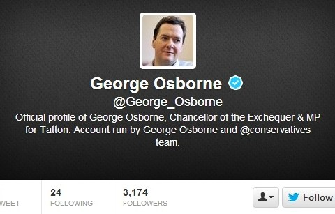 Chancellor George Osborne 4/1 to quit Twitter within a month