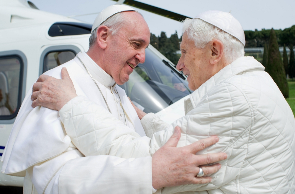 History is made as Pope Francis meets predecessor Benedict XVI near Rome
