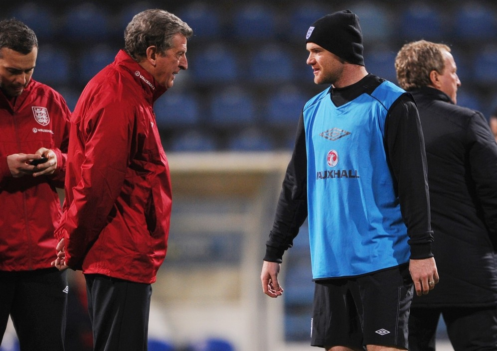 Roy Hodgson speaks to Wayne Rooney during the England training session at City Stadium on March 25, 2013 in Podgorica, Montenegro. Picture: Michael Regan/Getty Images