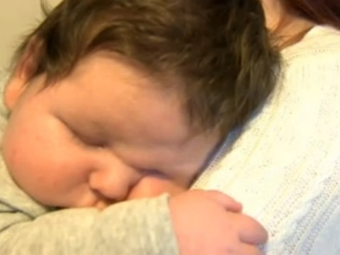 King of the babies: Newborn George weighs in at 15lb 7oz