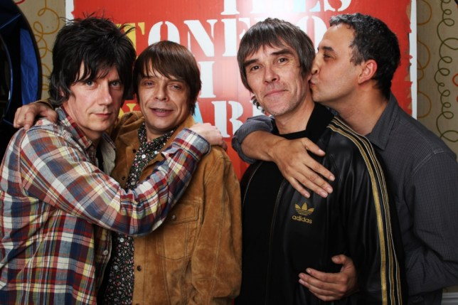 (L-R) John Squire, Mani, Ian Brown and Reni of The Stone Roses pose for a portrait to announce they have reformed for two nights at Heaton Park in Manchester on 29th and 30th June 2012 at The Soho Hotel on October 18, 2011 in London, United Kingdom.    LONDON, ENGLAND - OCTOBER 18:    (Photo by Dave J Hogan/Getty Images)