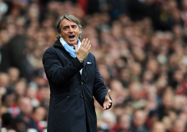 Manchester City manager Roberto Mancini reacts during the Barcla