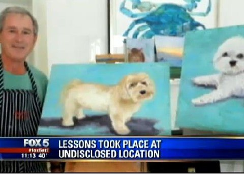 Former US president George W Bush likes to paint cute little dogs