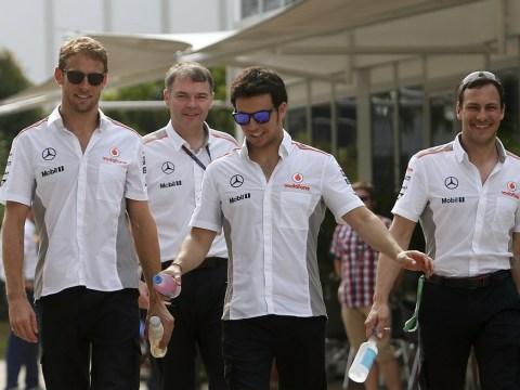 McLaren's Jenson Button and Sergio Perez clash in Bahrain Grand Prix