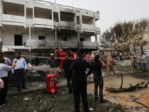 Two guards and teenage girl injured after car bomb rips through French embassy in Libya