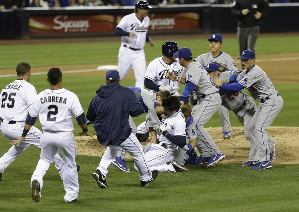 San Diego Padres' and Los Angeles Dodgers were involved in a mass brawl (Picture: AP)