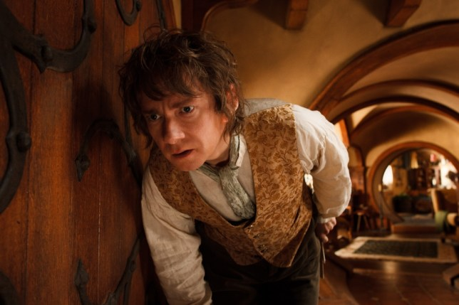 FILM: The Hobbit: An Unexpected Journey (2012).   MARTIN FREEMAN as the Hobbit Bilbo Baggins in the fantasy adventure ìTHE HOBBIT: AN UNEXPECTED JOURNEY,î a production of New Line Cinema and Metro-Goldwyn-Mayer Pictures (MGM), released by Warner Bros. Pictures and MGM.