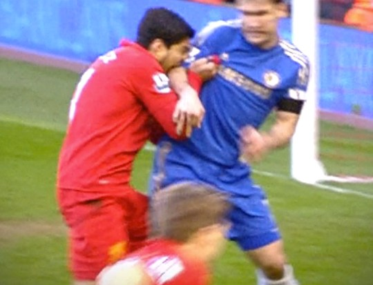 Ouch: Luis Saurez was caught on camera biting Branislav Ivanovic (Picture: Sky Sports)