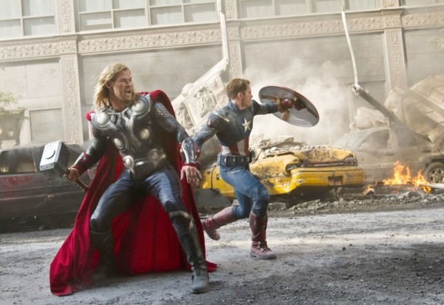 CMNMJW AVENGERS ASSEMBLE 2012 Marvel/Paramount film with Chris Hemsworth at left and Chris Evans