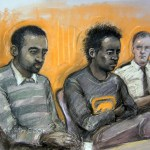 Court drawing of Kevin Liverpool (left) and Junior Bradshaw in the dock at Exeter Crown Court, where the duo are accused of a plot to rob and murder Joss Stone. PRESS ASSOCIATION Photo. Picture date: Monday March 18, 2013. See PA story COURTS Stone. Photo credit should read: Elizabeth Cook/PA Wire