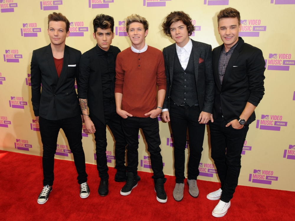 Niall Horan, Zayn Malik, Liam Payne, Harry Styles and Louis Tomlinson members of One Direction arriving at the MTV Video Music Awards at the Staples Centre, Los Angeles.    PRESS ASSOCIATION Photo. Picture date: Thursday September 6, 2012. Photo credit should read: PA Wire/PA Wire