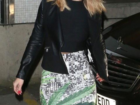 Kimberley Walsh wears dodgy cannabis print skirt for Alan Carr's Grand National Specstacular