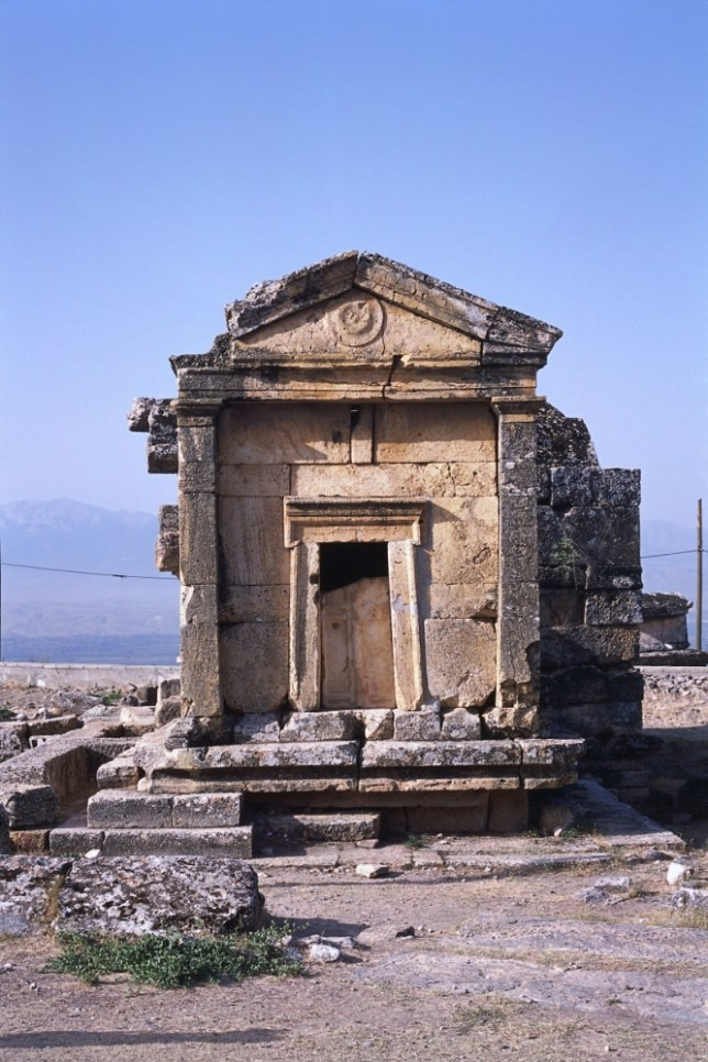 AWGPT5 Turkey, Aegean Region, Hierapolis, Necropolis, facade of house-shaped tomb