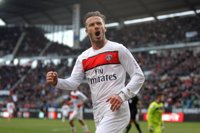 PSG s David Beckham celebrates after the scoring a goal against Rennes  during their French League One 6dc0cf734