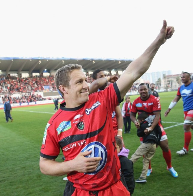 TOULON, FRANCE - APRIL 07:  Jonny Wilkinson who kicked all of Toulon's points celebrates their victory after the Heineken Cup quarter final match between Toulon and Leicester Tigers at Felix Mayol Stadium on April 7, 2013 in Toulon, France.  (Photo by David Rogers/Getty Images)