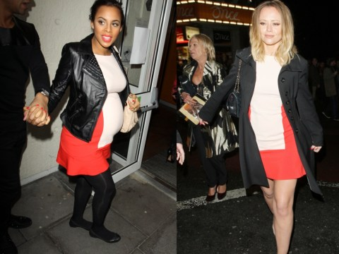 Pregnant Rochelle Humes and Kimberley Walsh opt for exactly the same dress on night out – and only narrowly avoid wardrobe disaster