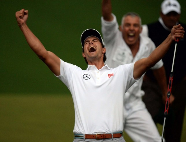 Adam Scott of Australia celebrates on the 10th hole playoff to win during the fourth round of the 77th Masters golf tournament at Augusta National Golf Club on April 14, 2013 in Augusta, Georgia.  AFP PHOTO /  DON EMMERTDON EMMERT/AFP/Getty Images