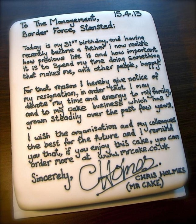 The cake Chris Holmes sent his bosses announcing his resignation