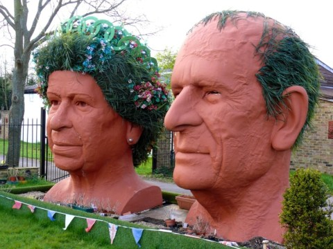 Couple show love for royal family with giant busts of Queen and Prince Philip in front garden