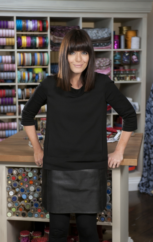 Claudia Winkleman calms nerves on The Great British Sewing Bee (Picture: Love Productions)