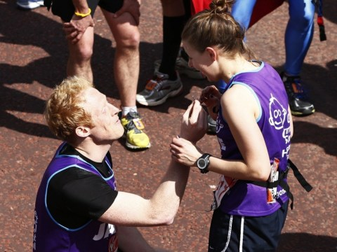 Together for the long run? London marathon runner proposes to girlfriend at finishing line