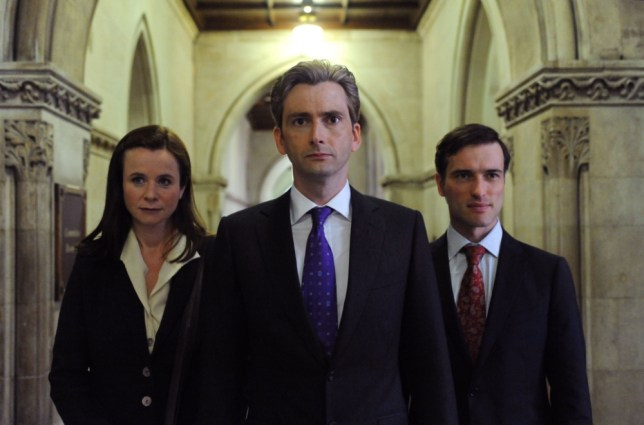 David Tennant (centre) stars with Emily Watson and Ed Stoppard in The Politician's Husband (Picture: BBC)