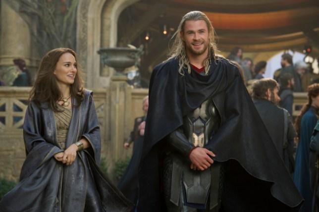"""Marvel's Thor: The Dark World""..Jane Foster (Natalie Portman) and Thor (Chris Hemsworth)..Ph: Jay Maidment..? 2013 MVLFFLLC. TM & ? 2013 Marvel. All Rights Reserved."