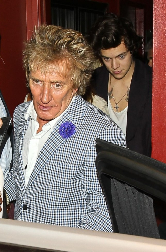 Mandatory Credit: Photo by Startraks Photo / Rex Features (2308497a)  Rod Stewart, Harry Styles  Harry Styles and Rod Stewart have dinner together at Dan Tanas, Los Angeles, America - 25 Apr 2013