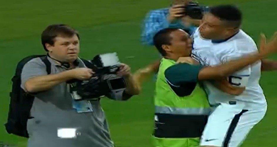 Timber land: Ronaldo embraces the steward after his great goal in the Maracana (Picture: YouTube)