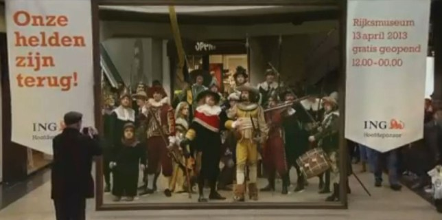 Seventeenth century flash mob invades Dutch shopping centre, Rembrandt's 'The Nightwatch' painting