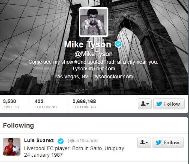 Bite club: Tyson is following Suarez on Twitter (Picture: Twitter)