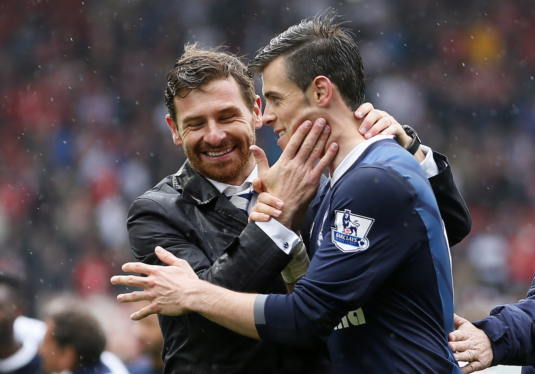 Ramping up the pressure: Andre Villas-Boas celebrates with Gareth Bale (Picture: Reuters)