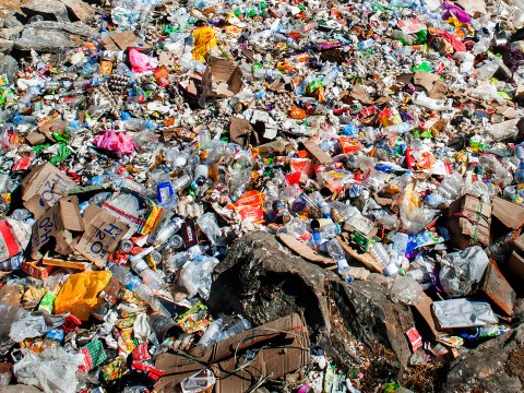 Volunteers help move a mountain of rubbish on Everest