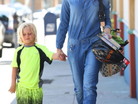 With a denim jumpsuit and high-top wedges, you can rock Gwen Stefani's look