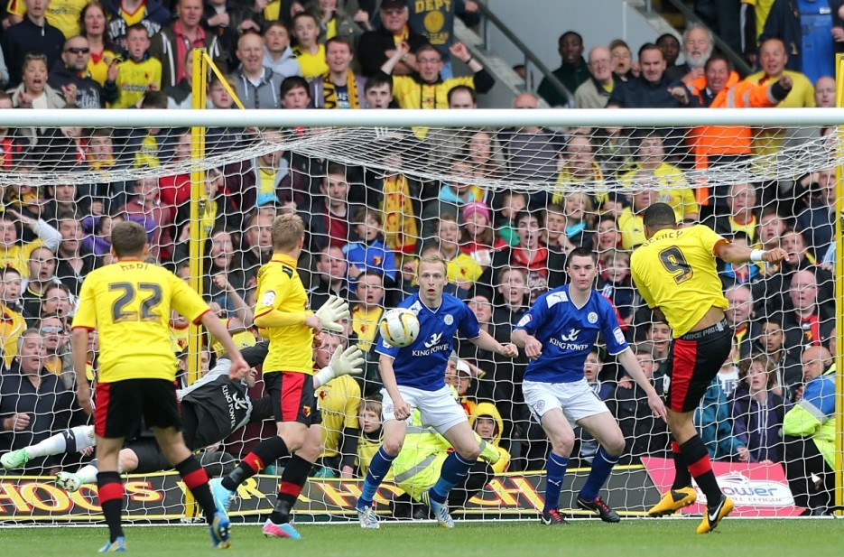 Watford's Troy Deeney scores his teams third goal of the game during the npower Championship, Play-Off Semi Final, Second Leg match at Vicarage Road, London. PRESS ASSOCIATION Photo. Picture date: Sunday May 12, 2013. See PA story SOCCER Watford. Photo credit should read: Nick Potts/PA Wire. RESTRICTIONS: Editorial use only. Maximum 45 images during a match. No video emulation or promotion as 'live'. No use in games, competitions, merchandise, betting or single club/player services. No use with unofficial audio, video, data, fixtures or club/league logos.