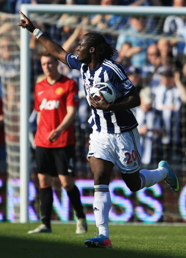 WEST BROMWICH, ENGLAND - MAY 19:  Romelu Lukaku of West Bromwich Albion celebrates as he scores their third goal during the Barclays Premier League match between West Bromwich Albion and Manchester United at The Hawthorns on May 19, 2013 in West Bromwich, England.  (Photo by Richard Heathcote/Getty Images)
