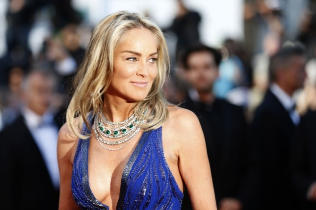 """US actress Sharon Stone poses on May 21, 2013 as she arrives for the screening of the film """"Behind the Candelabra"""" presented in Competition at the 66th edition of the Cannes Film Festival in Cannes. Cannes, one of the world's top film festivals, opened on May 15 and will climax on May 26 with awards selected by a jury headed this year by Hollywood legend Steven Spielberg.      AFP PHOTO / VALERY HACHEVALERY HACHE/AFP/Getty Images"""
