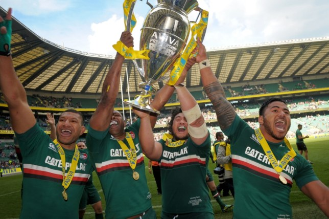 (left to right) Leicester's Steve Mafi, Vereniki Goneva, Logovi'i Mulipola and Manusamoa Tuilagi with the trophy following the Aviva Premiership Final at Twickenham, London. PRESS ASSOCIATION Photo. Picture date: Saturday May 25, 2013. Photo credit should read: Tim Ireland/PA Wire. RESTRICTIONS: Use subject to restrictions. Editorial use only. No commercial use. Call +44 (0)1158 447447 for further information.