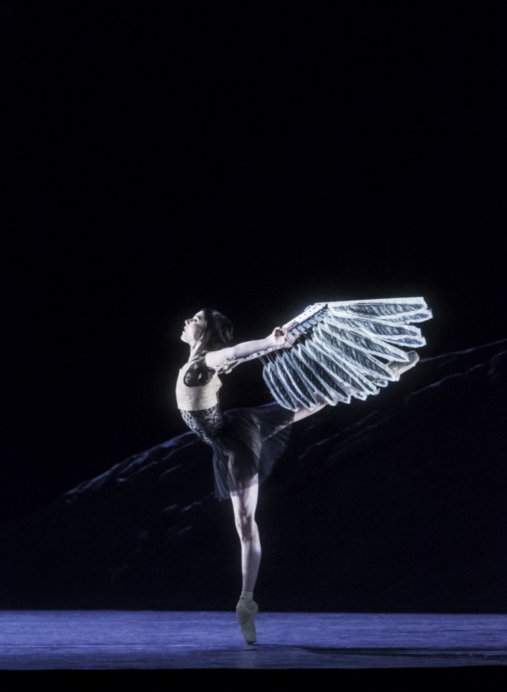 Sarah Lamb takes flight in the overly dark Raven Girl (Picture: Johan Persson)