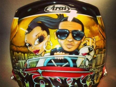 Lewis Hamilton pimps up his helmet with cartoon featuring girlfriend Nicole Scherzinger and his dog Roscoe