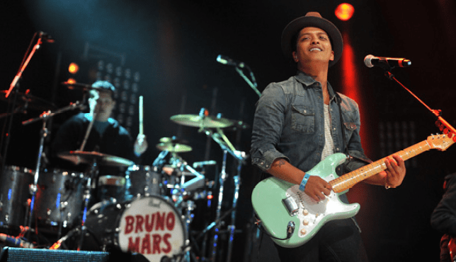 Bruno Mars serenaded the crowds in Londonderry tonight (Picture: BBC)