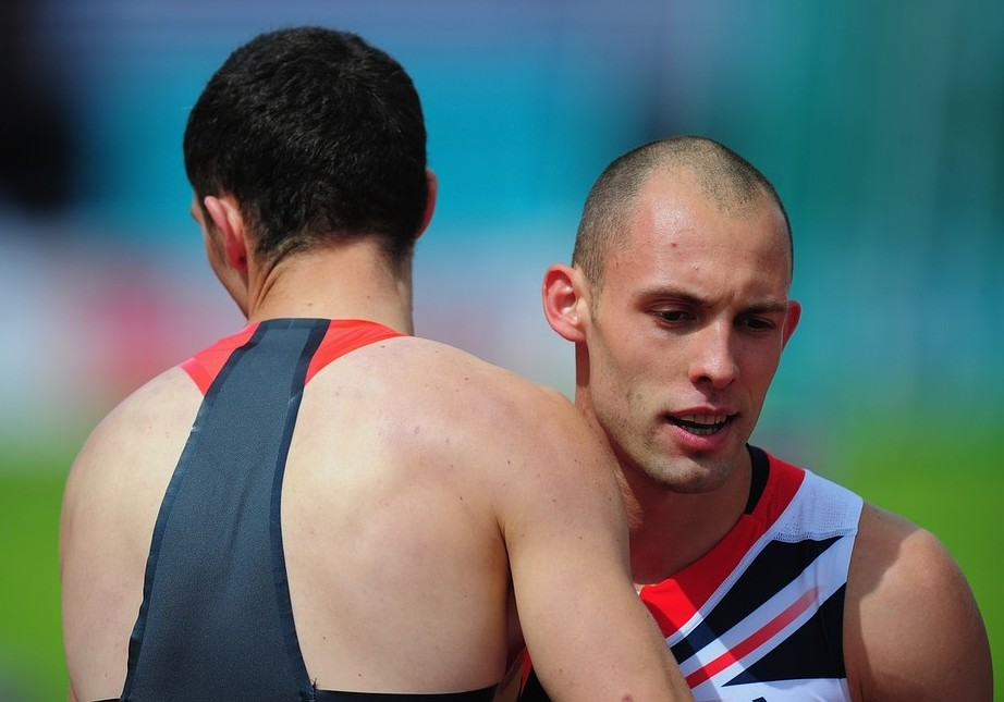 Better luck next time: Greene is consoled by German winner Silvio Schirrmeister in Gateshead last weekend (Picture: Getty Images)