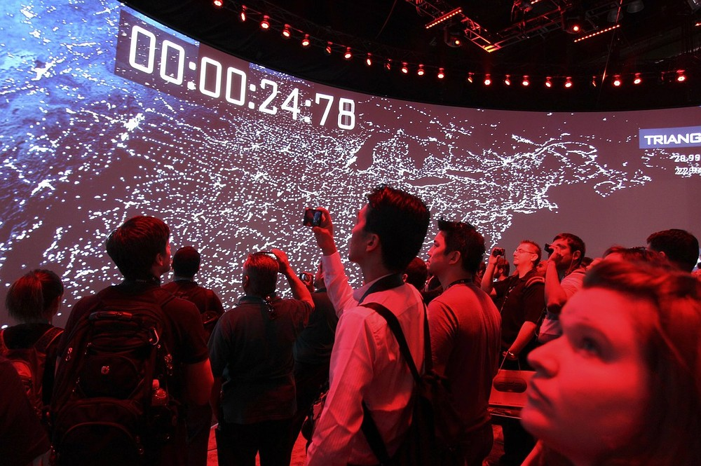 People watch a demonstration of Call of Duty at the Activision exhibit at E3 (Picture: Reuters)