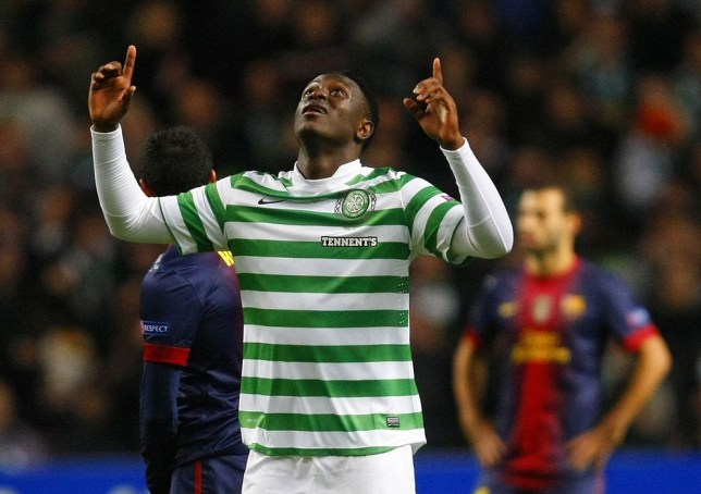 Celtic's Victor Wanyama celebrates scoring a goal during their Champions League soccer match against Barcelona at Celtic Park stadium in Glasgow, Scotland November 7, 2012. REUTERS
