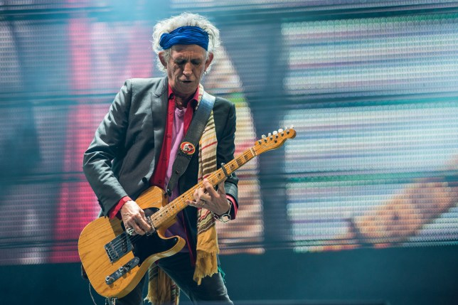 Keith Richards of The Rolling Stones perform on the Pyramid Stage (Picture: Getty)