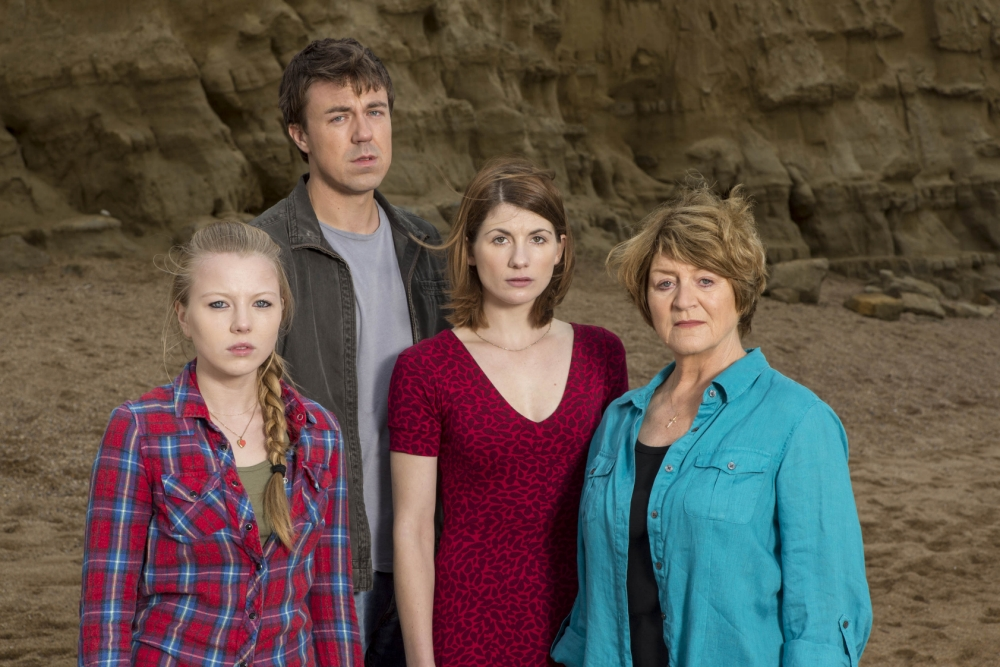 On the rise: Charlotte Beaumont (front left) with her Broadchurch co-stars (Picture: ITV)